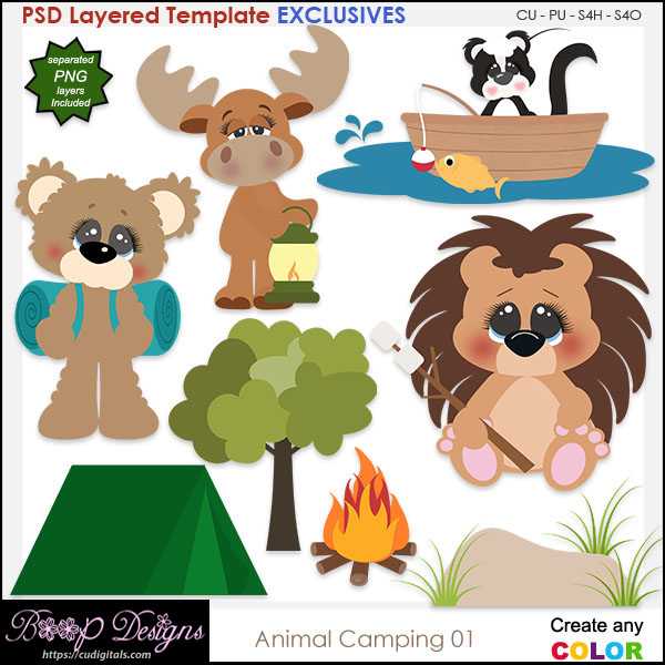 Animal Camping - EXCLUSIVE Layered TEMPLATES