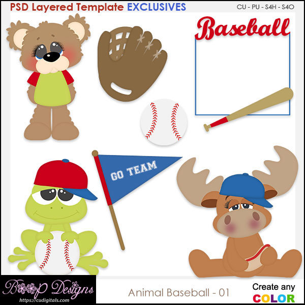 Animal Baseball 01 - EXCLUSIVE TEMPLATES