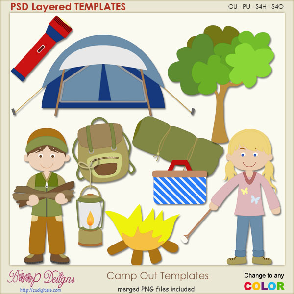 Camping Out Layered Templates plus Clipart