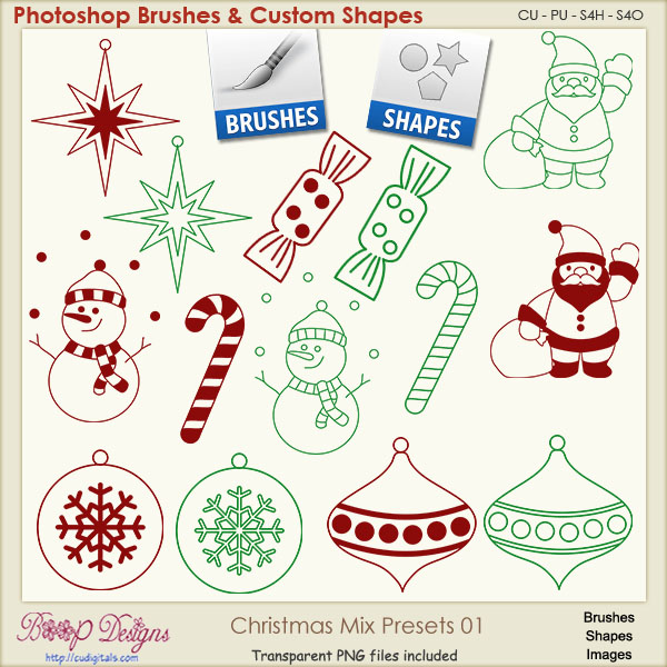 Christmas Brush & Shape PRESETS 01