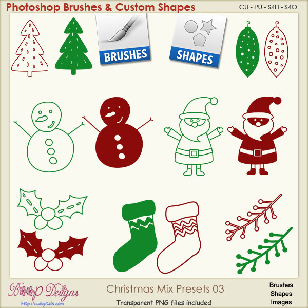 Christmas Brush & Shape PRESETS 03