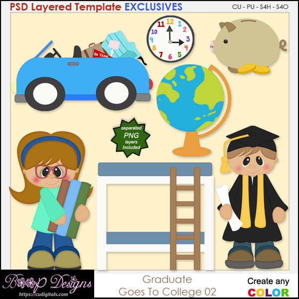 Grad Goes to College 02 - EXCLUSIVE Layered TEMPLATES
