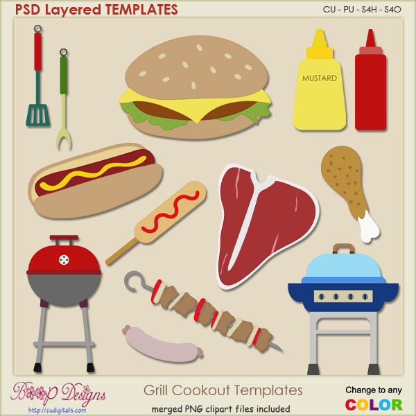 Grill Cookout Layered Templates