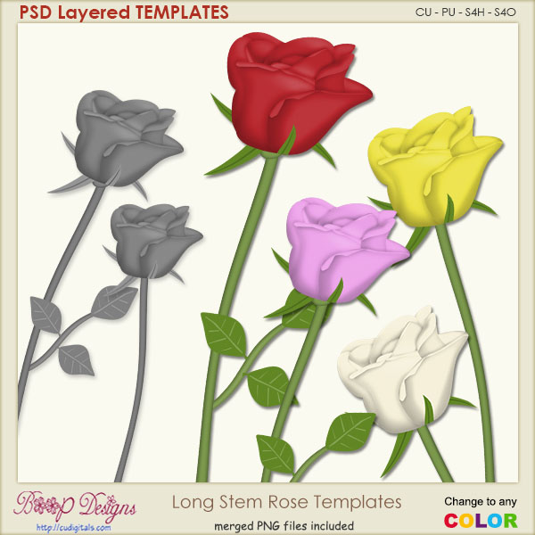 Long Stem Rose TEMPLATES