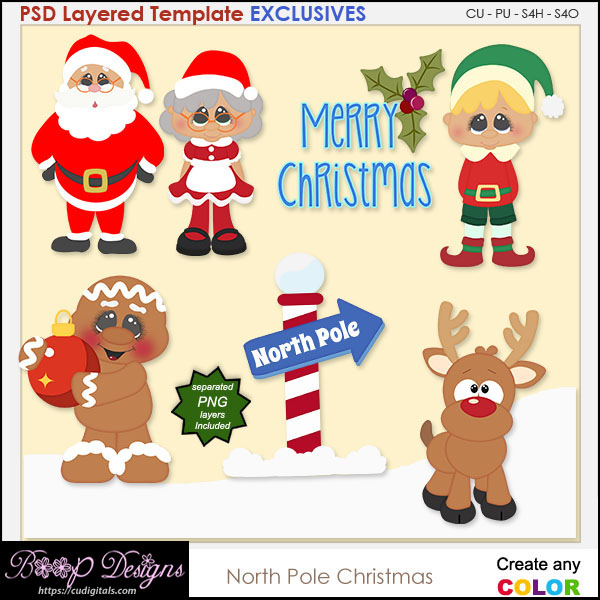 North Pole Christmas - EXCLUSIVE Layered TEMPLATES