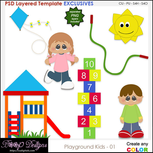 Playground Kids 01 - EXCLUSIVE Layered TEMPLATES
