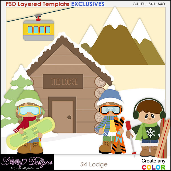 Ski Lodge - EXCLUSIVE Layered TEMPLATES