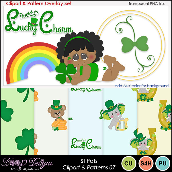 St Pats 07 - Clipart & Pattern Overlay COMBO