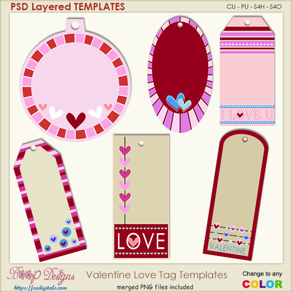 Valentine Love Tag Layered TEMPLATES