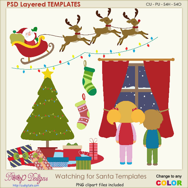 Watching for Santa Sceen Layered Element TEMPLATES