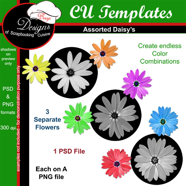 Assorted Daisy's TEMPLATES by Boop Designs