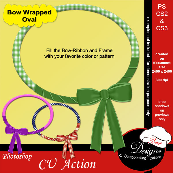 Bow Wrapped Oval ACTION by Boop Designs