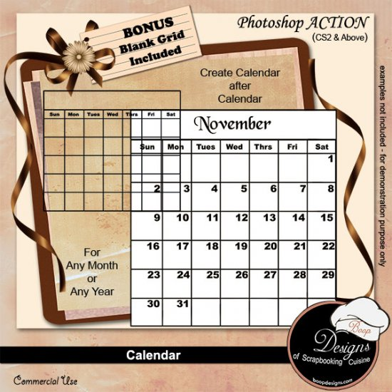 Calendar PS ACTION by Boop Designs