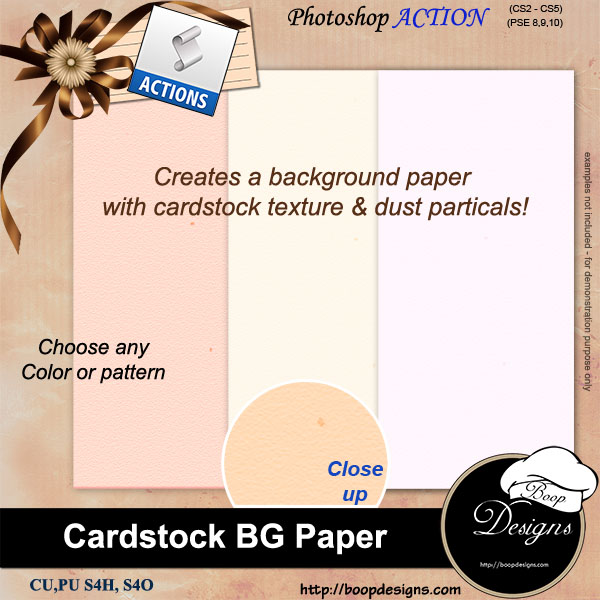 Cardstock BG Paper ACTION by Boop Designs
