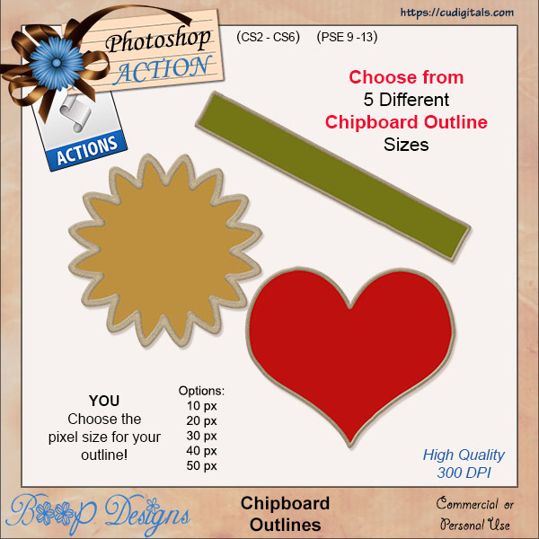 Chipboard Outlines ACTION by Boop Designs