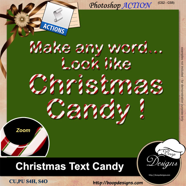 Christmas Text Candy ACTION by Boop Designs