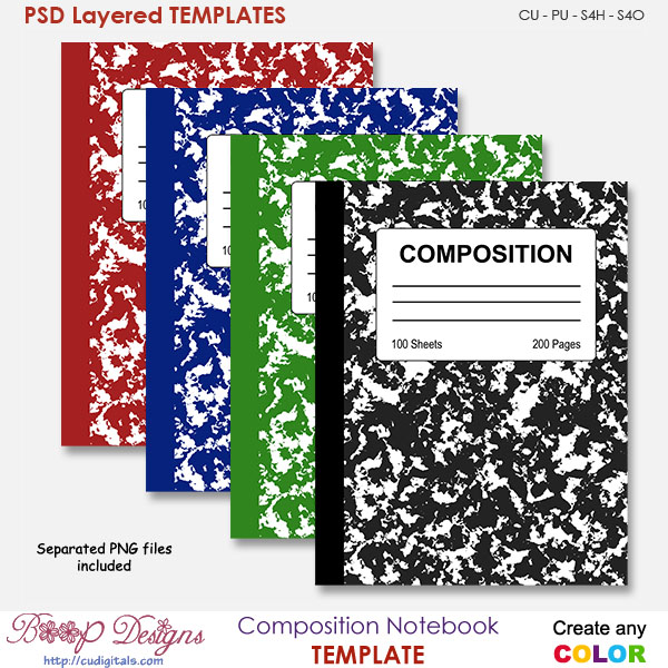 Composition Notebook Cover TEMPLATE by Boop Designs