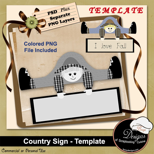 Country Sign TEMPLATE by Boop Designs