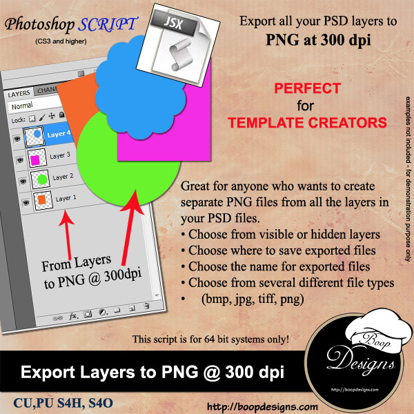 Export Layers to PNG 300 dpi ACTION by Boop Designs
