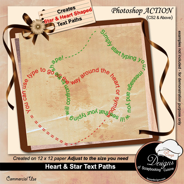 Heart & Star Text Paths ACTION by Boop Design