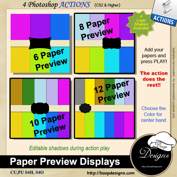 Paper Display Preview ACTIONS by Boop Designs