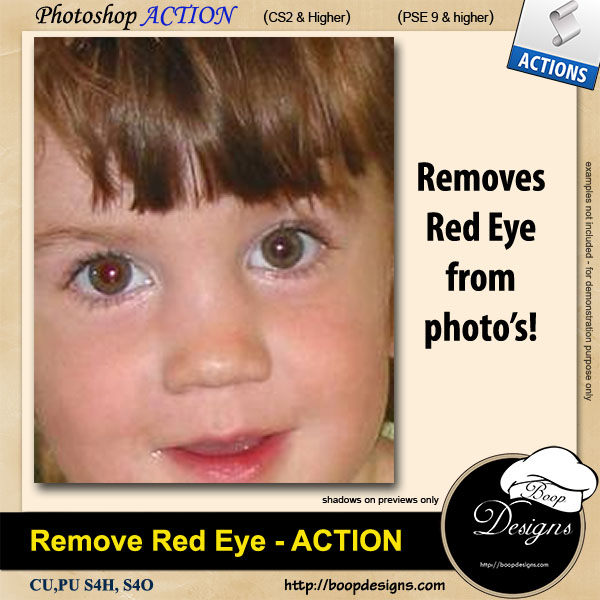 Remove Red Eye from Photo's ACTION by Boop Designs