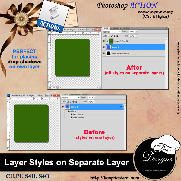 Separate Layer Styles ACTION by Boop Designs