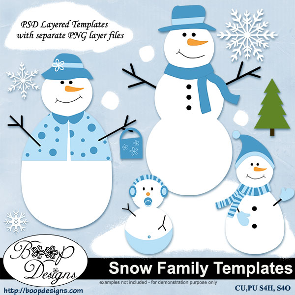 Snow Family Layered TEMPLATES by Boop Designs
