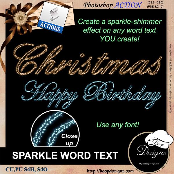 Sparkle Word Text ACTION by Boop Designs