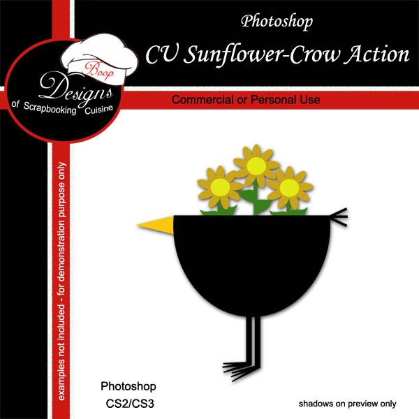 Sunflower Crow ACTION by Boop Designs