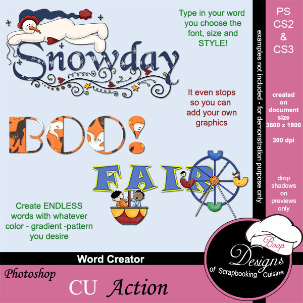 Word Art Creator ACTION by Boop Designs