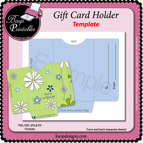 Gift Card Sleeve Holder TEMPLATE by Boop Printable Designs