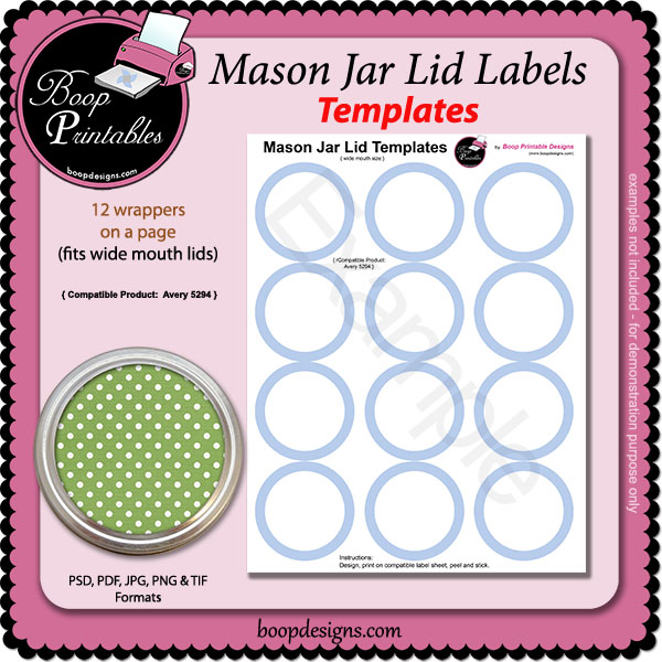 photograph about Free Printable Mason Jar Lid Labels identify Jar Lid Label TEMPLATES - 5294 by means of Boop Printable Styles Jar