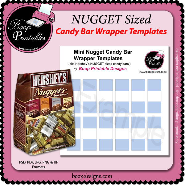 NUGGET Mini Candy bar Wraps TEMPLATE by Boop Printable Designs