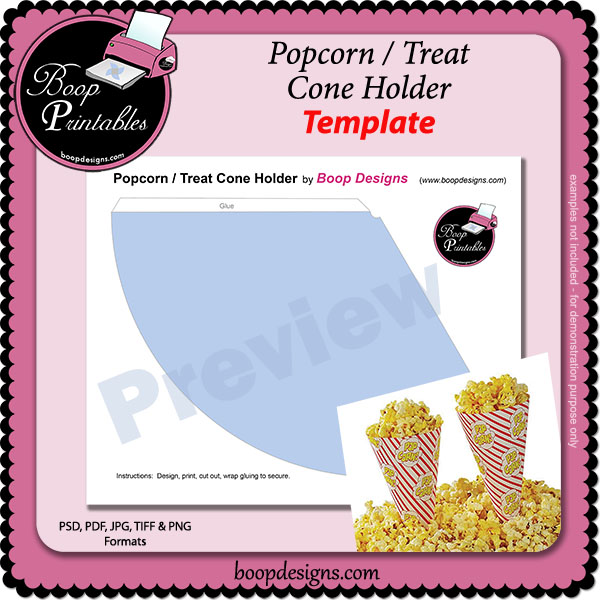 Popcorn or Treat Cone Shape Wrapper - TEMPLATE by Boop Printable Designs