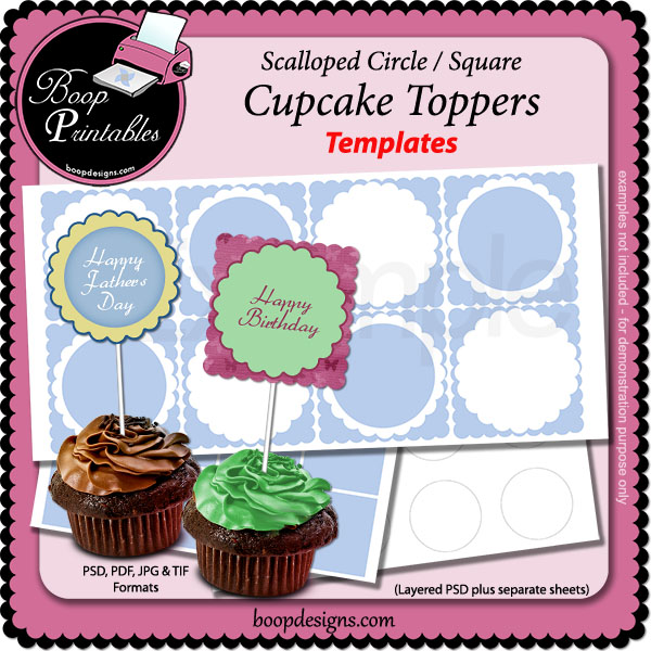 Cupcake Topper TEMPLATES -scalloped rd-sq by Boop Printables