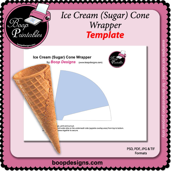 photo regarding Ice Cream Template Printable identified as Ice Product Sugar Cone Wrapper as a result of Boop Printable Styles Ice