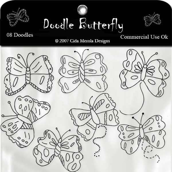 Butterfly Doodle Set 1 by Cida Merola