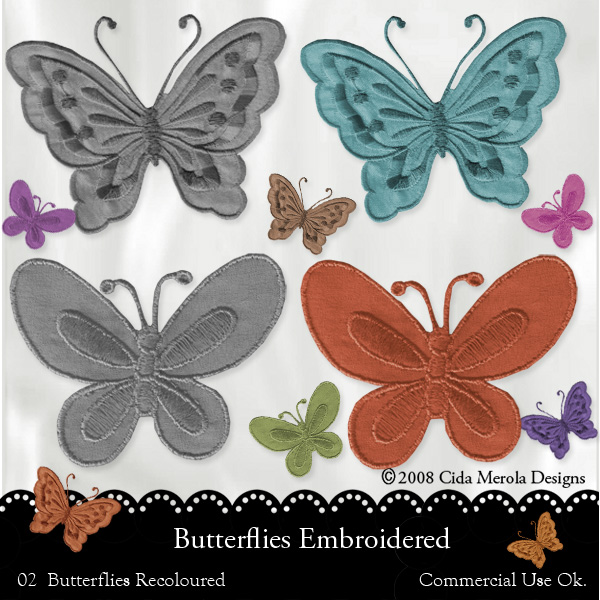 Butterflies Embroidered by Cida Merola