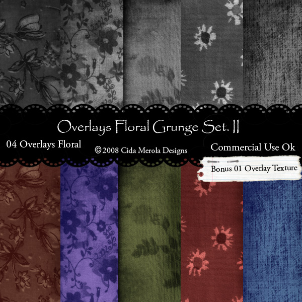 Floral Grunge Overlays Set 2 by Cida Merola