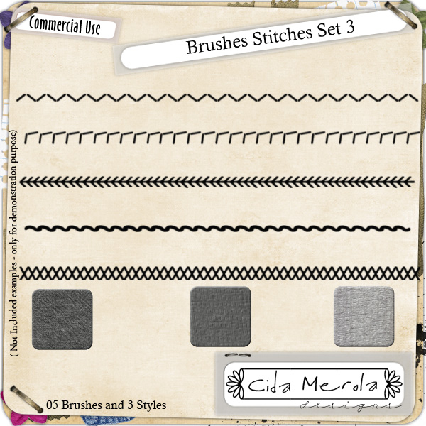 Brushes Stitches Set 3 by Cida Merola