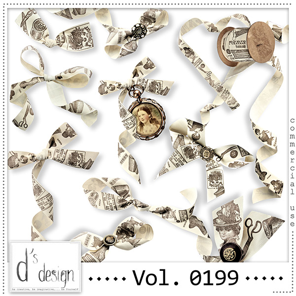 Vol. 0199 Vintage Ribbons Mix by Doudou Design