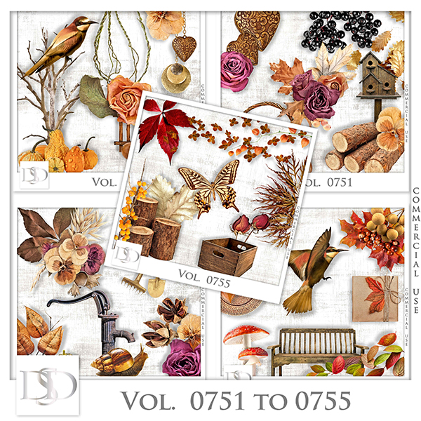 Vol. 0751 to 0755 Autumn Nature Mix by D's Design