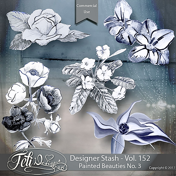 Designer Stash Vol 152 - Painted Beauties No 3 by Feli Designs