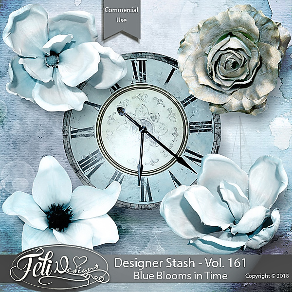Designer Stash Vol 161 - Blue Blooms in Time by Feli Designs