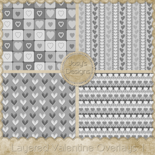 Layered Valentine Overlays 1 by Josy