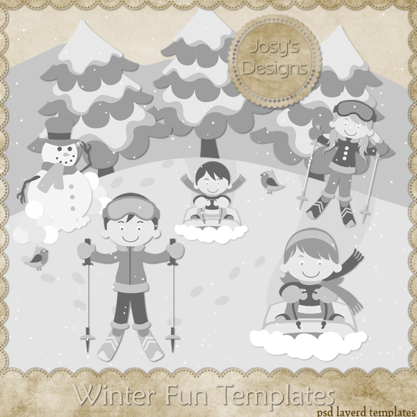 Winter Fun Layered Templates by Josy