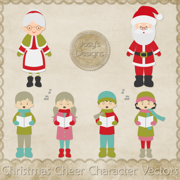 Christmas Cheer Character Layered Vector Templates by Josy