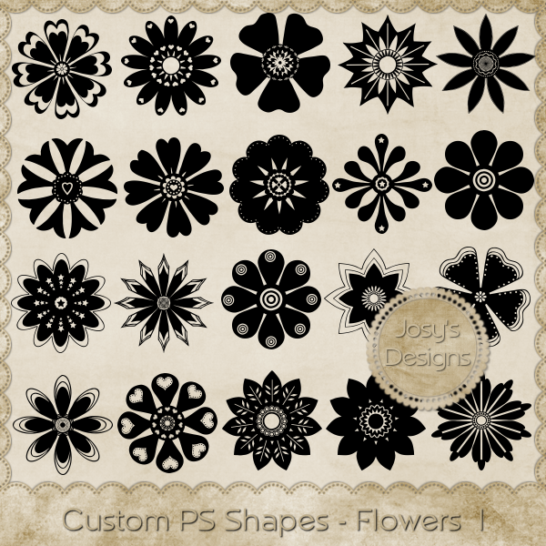Custom Shapes-Flowers 1 by Josy