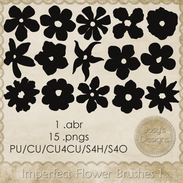 Imperfect Flower Brushes 1 by Josy